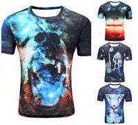 Commercio all'ingrosso- Nuovo Galaxy Space Cat Stampato T-shirt creativa T-shirt da uomo Pensatori / Novità / Pizza Caree 3D Tee Tops Clo