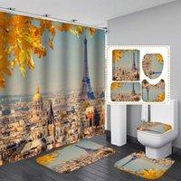 샤워 커튼 로맨틱 파리 풍경 에펠 탑 인쇄 커튼 세트 미끄럼 방지 카펫 변기 쿠션