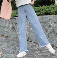 Women's Jumpsuits & Rompers Harajuku kawaii retro-embroidered denim women's bottoms girls leg graphic jeans high waist casual summer fashion CO26