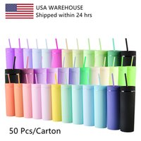 USA Stock 50 pcs per carton mixed color 16oz double wall resuable plastic cup round plastic water bottles with straw and lids