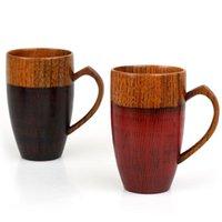 Mugs upports tasse de thé en bois avec poignée de coeur de style japonais bois naturel bois rouge blanc couple gobelets cadeaux