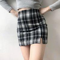 Rock Fashion Street Style Mini Packung Hüfte Röcke Hohe Taille Retro Plaid Series Halblänge schlank kurz