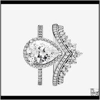 Princess Hooding Ring Teardrop Кольца Набор Топ Мода 925 Стерлинговые Серебро Свадьба Свадебные Изделия CZ Алмазное кольцо с оригинальной коробкой NV08I JW0P6