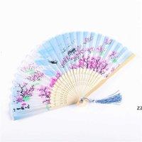 Verão Vintage Fã de Bambu Dobrável para Festa Favor Chinês Estilo Hand Held Flor Fãs Dança Decoração de Casamento Hwe10367