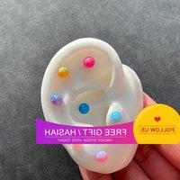 Korean lip titanium steel thin needle Mini stone orb screw bone color ball opal ear nail Doudou