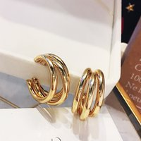 earrings Earrings Geometric Circle C-type multi-layer temperament South Korea dongdamen S925 pure sier needle