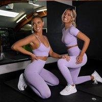 Мужские брюки 6 цветов Женщины бесшовные йоги набор с коротким рукавом Урожай высокого талии Спортивные леггинсы активные износа тренажерный зал костюм Одежда для тренировки