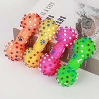 Dog Toys Colorful Dotted Dumbbell Shaped Dog Toys Squeeze Squeaky Faux Bone Pet Chew Toys for Dogs W0256