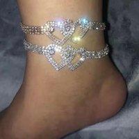 1 unids Piedra de piedra de lujo Rhinestone Doble Amor Heart Anklet para las mujeres Sandalias de piernas Pie Toklet Cadena Joyería de moda entera 2021