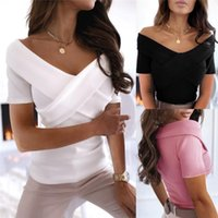 Women's Sexy Short Sleeve T-shirt Girl's Solid Color V-neck Tops Off-shoulder Chest Cross Casual Tight High Waist Tee Clothing