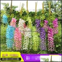Decorative Wreaths Festive Supplies & Garden110 Cm Artificial Flowers Silk Wisteria Fake Garden Hanging Flower Plant Vine Home Wedding Party