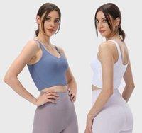 Yoga Vest Rib High Elastic V-neck U-back Sports Bra Gym Clothes Women Underwear Casual Workout Padded Tank Top