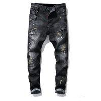 Erkek Rozeti Rips Streç Siyah Erkekler Kot Slim Fit Yıkanmış Motosiklet Denim Pantolon Paneled Hip Hop Pantolon Moda