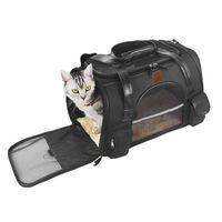 Poliéster dobrável respirável cão de estimação crossbody saco com almofada de almofada macia Cat Bolsa ao ar livre totebag viagens de viagem, casas de caixas