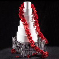Party Decoration Square Acrylic Cake Stand Single Layer Hanging Crystal Beads Dessert Plate Table Props