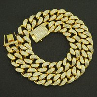 Chains 20MM Bling Iced Out Cuban Necklace Link Chain Crystal Bracelet For Men Hip Hop Jewelry Trend Charms Accessories Gift