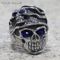 Fashion Punk Rock Skull Biker Ring Mens 316L Stainless Steel Band Party Rings Cool Male Scarf Blue Stone Eyes Cluster