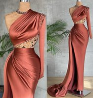 2021 Plus Size Arabic Aso Ebi Sexy One Shoulder Prom Dresses Beaded Crystals Sheath Evening Formal Party Second Reception Gowns ZJ295