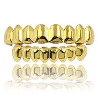 Hip Hop Grillz dientes de oro Grillz punk de alta calidad de oro plateado plateado moda hombres mujeres raperos dientes joyería 2 piezas conjunto de parrillas dentales