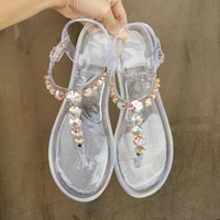 Sandals Large Size Women Summer Beach Woman Shoes Clear Jelly Diamond Transparent PVC Flat Outdoor Ladies
