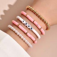 Bohemian Style Ethnic Bracelets Colorful Soft Pottery Retro Temperament Pearl Bracelet Love 5 Pieces In One Set