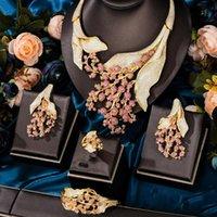 Earrings & Necklace KellyBola Luxury Exquisite Bridal Wedding Zircon 4PCS Large Cluster Flower Bangle Earring Ring Female Fashion Jewelry
