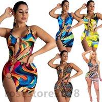Mujeres vestidos ocasionales 2021 diseñador de verano moda mujer sexy en v cuello traje de baño colorido vestido impreso suspensión falda corta ropa delgada