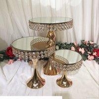 Luxo Cristal de Cristal Espelho Alto Bolo Centerpieces Exposição Suporte Suporte Fondant Macaron Cupcake Tabela Candybar Table Bolo Decoração