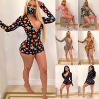 Womens Summer Fashion dresses Clothes Print Playsuit V Neck Long Sleeve Shorts Skinny Jumpsuits Pajama Onesies Rompers Nightclub Plus Size Clothing