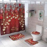 4pcs accesseles de baño conjunto decoración navideña ducha cortina asiento asiento cubierta franela estera producto casa cortinas