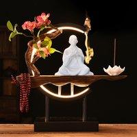 Chinesische Zen-Stil Keramikfigur Rückfluss Kleine Nachtlampe Kreis Home Desktop Wohnzimmer Dekoration Weihrauch Brenner Ornamente