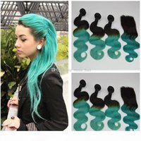 Virgin Peruvian Ombre Green Human Hair Body Wave 3Bundles with Closure 4Pcs Lot Two Tone 1B Green Ombre 4x4 Lace Closure with Weaves
