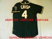 스티치 # 4 Coco Crisp Green Jersey Throwback 유니폼 남성 여성 청소년 야구 XS-5XL 6XL