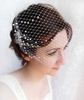 Birdcage вуаль с жемчугом, свадебным банзой вуалью, небольшая завеса птицы - Blush Chassinator X0726