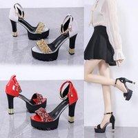 Dress Shoes Straight Buckle Sandals Thick Heel Open Toe Women's Platform Heels Beaded Sequin Ultra-high