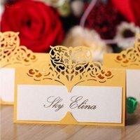 Grußkarten 50 teile / los Weißes Herz Laserschnitt Tischdecke Weinglas Name Platz Hochzeit Geburtstag Baby Dusche Weihnachten Liefert 7ZSH871