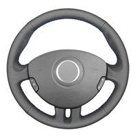 أسود بو فو الجلود ديي مخيط سيارة غطاء عجلة القيادة ل 3 كليو 3 روبية 2005-2013