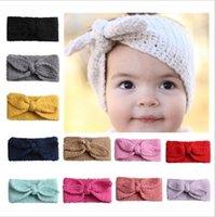 Crianças menina faixa de coelho orelhas de malha faixa de cor sólida cor de cor de turbante turban orelha orelha aquecedor moda acessórios de cabelo 12 cores bt4791