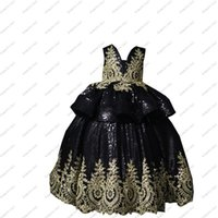 Girl's Dresses 2021 Glitter Black And Gold Embellished Lace Ball Gown V Neck Long Cupcake Little Girls Pageant Flower Girl With Sleeve