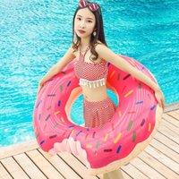 Chaleco de vida de la vida de la boya del asiento de verano del colchón de juguete engrosado de PVC flotante círculo de natación al aire libre inflable donut nadar accesorios