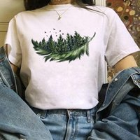 Women's T-Shirt Women Feather Forest Bird Short Sleeve Printing Spring Fashion Lady Clothes Print Tshirt Female Tee Top Ladies Graphic