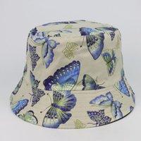 القبعات دلو الصيف المرأة فراشة طباعة طوي مكافحة حروق الشمس قبعة قبعة قبعة في الهواء الطلق الشارع الشهير واسعة بريم