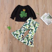 Clothing Sets St. Patrick's Day Clothes Toddler Girls Long Sleeve Tos Green Shamrocks Bell-bottomed Pant 2pcs Outfit Holiday Children