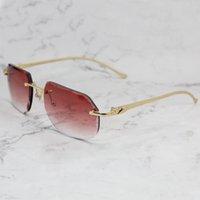 Luxury Designer Sunglasses Mens Rimless Panther Diamond Cut Stylish Carter Sun Glasses Vintage Driving Shades Gafas De Sol