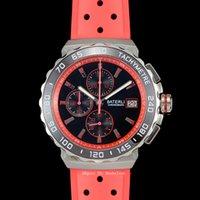 Hommes Sport Watch Ceramic Bezel Japon Mouvement Quartz Chronographe Noir Cadre Bracelet Montre-Bracelet En acier Bande Rouge Sangle Hanbelson