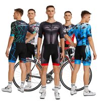 CODBCO 2021 Men's Triathlon Short Sleeve Cycling Jersey Sets Skinsuit Maillot Ropa Ciclismo Bicycle Clothing One Piece Jumpsuit