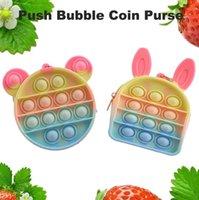 Fidget Toys Coins Borsa colorata Push Bubble Sensoriale Squishy Stress Stress Reliever Autismo Ha bisogno Anti-stress Rainbow Adulto giocattolo per adulti piccoli sacchetti per bambini CC5889