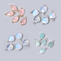 yutong 3pcs set Natural Aventurine Rose Pink Quartzs Opal Stone Pendants Charm DIY Making Necklace Earrings For Women Exquisite Jewelry