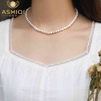 Designer Necklace 6-7mm Natural freshwater pearl Chokers 925 sterling silver jewelry for women gift 2021 trend fashion