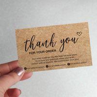 Papier Kraft personnalisé de 100 pcs Merci de la carte de remerciement de votre commande Etiquettes de commande Small Business Business Cartes Ajouter Contact Salutation